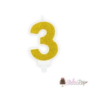 Świeczka urodzinowa cyfra 3 złota