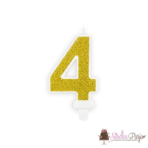 Świeczka urodzinowa cyfra 4 złota