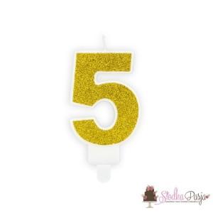 Świeczka urodzinowa cyfra 5, złota
