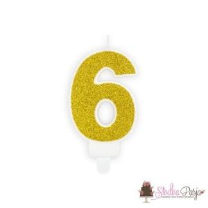Świeczka urodzinowa cyfra 6, złota