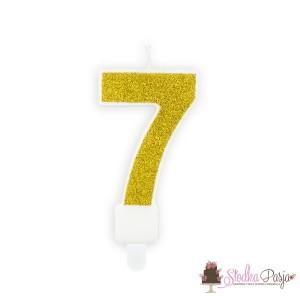 Świeczka urodzinowa cyfra 7 złota