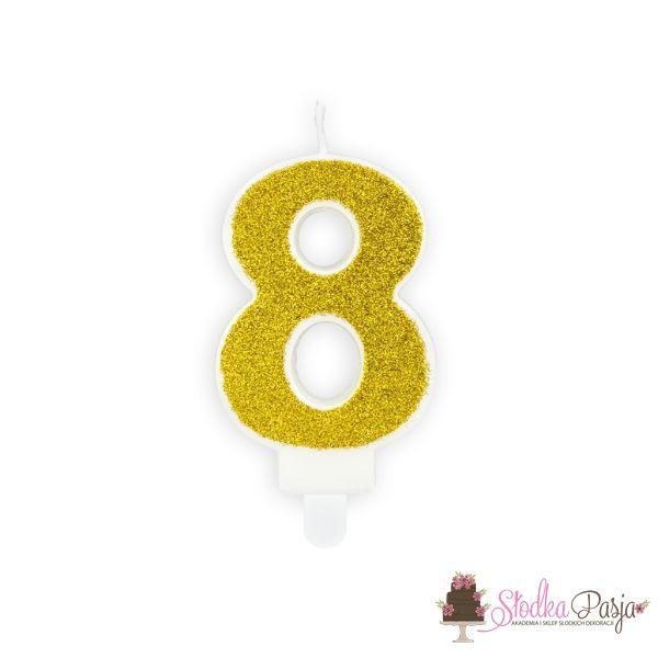Świeczka urodzinowa cyfra 8 złota