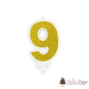 Świeczka urodzinowa cyfra 9, złota