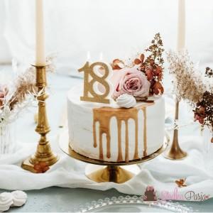 Świeczka urodzinowa liczba 18, złota
