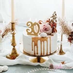 Świeczka urodzinowa liczba 30, złota