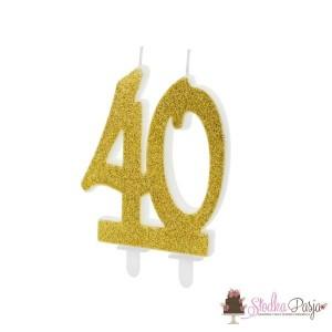 Świeczka urodzinowa liczba 40, złota