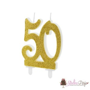 Świeczka urodzinowa liczba 50, złota