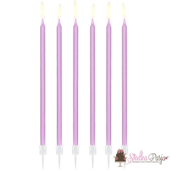 Świeczki urodzinowe długie gładkie jasny liliowy