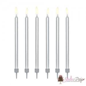 Świeczki urodzinowe długie gładkie srebrne 12,5 cm - 12 szt