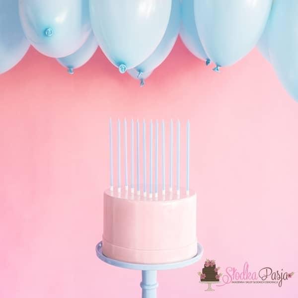 Świeczki urodzinowe długie gładkie jasny niebieski 12 szt