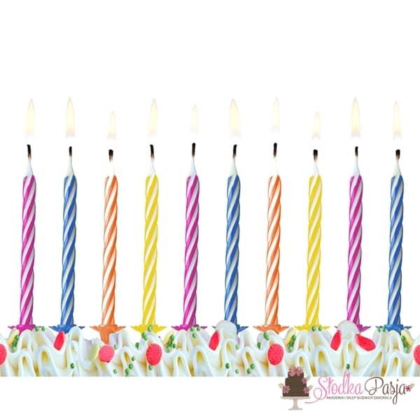Świeczki urodzinowe mix kolorów 10 szt