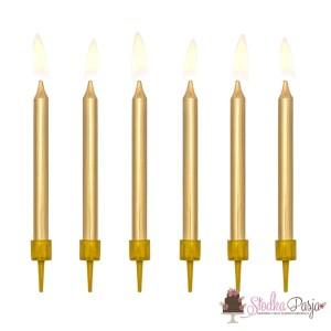 Świeczki urodzinowe na tort gładkie złote 6 cm - 6 szt