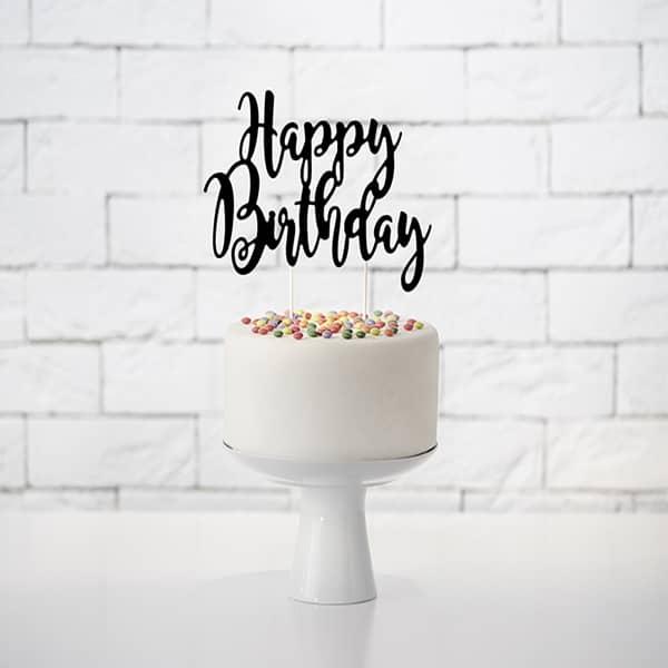 Topper na tort Happy Birthday - czarny