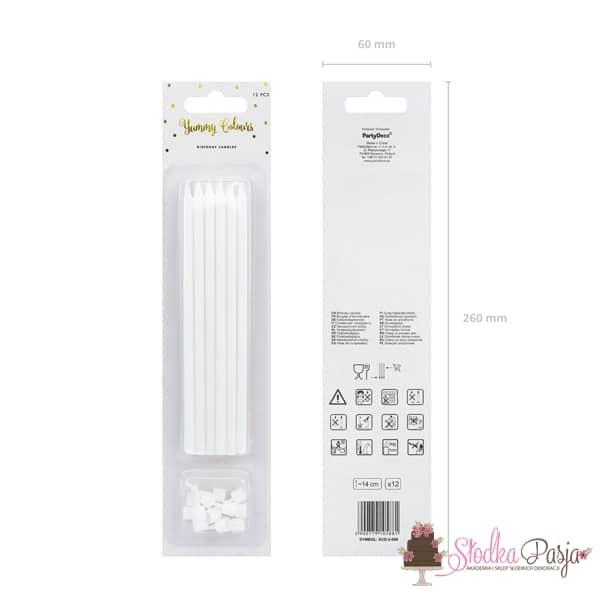 Świeczki urodzinowe długie gładkie białe -12 szt