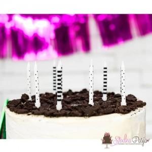 Świeczki urodzinowe kropki i paski czarno - białe 6,5 cm - 6 szt