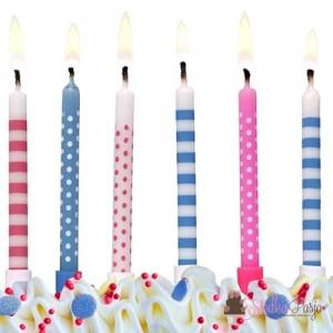 Świeczki urodzinowe kropki i paski kolorowe 6,5 cm - 6 szt