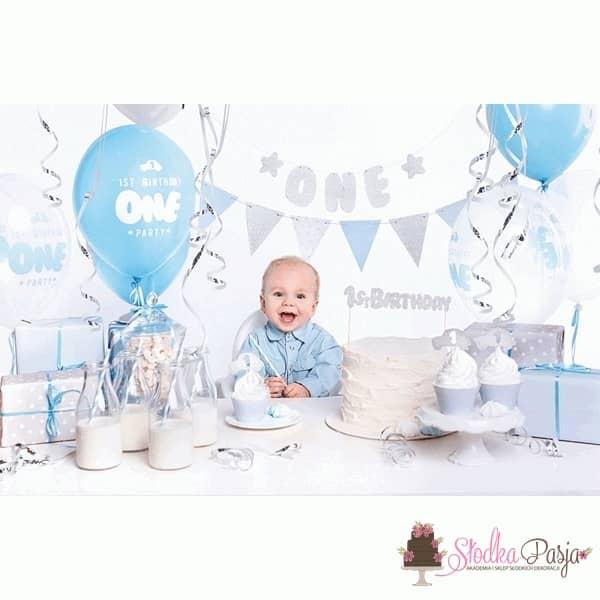 Zestaw urodzinowy dla dzieci 1 st Birthday srebrny